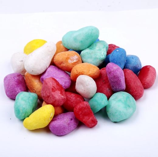 观赏用彩色石子 机制染色米石 五彩石 人工彩石